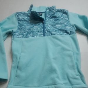 The North Face  girls teal partial  zip fleece jacket  teal quarter pullover. L